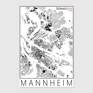 Schwarzplan Mannheim Figureground Diagram - Poster 60x90 cm