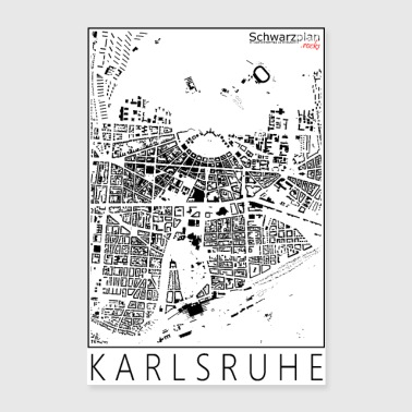 Schwarzplan Karlsruhe Figureground Diagram - Poster 24 x 35 (60x90 cm)