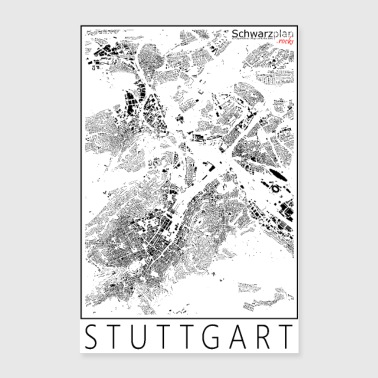 Schwarzplan Stuttgart Figureground Diagram - Póster 60x90 cm