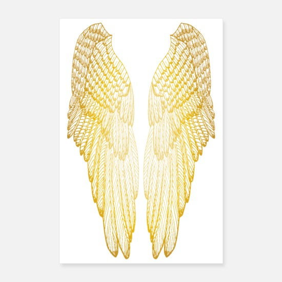 Christmassy Posters - Long Gold Wings - Posters hvid