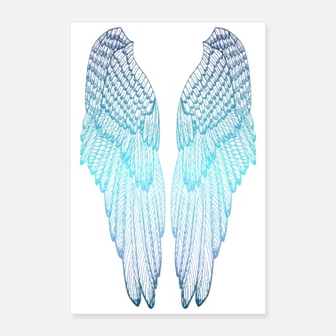 Long Blue Angel Wings - Poster