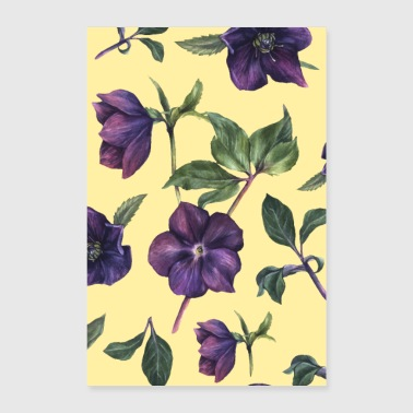 Watercolour Floral wallpaper vintage colorful gift floral pattern - Poster 24 x 35 (60x90 cm)