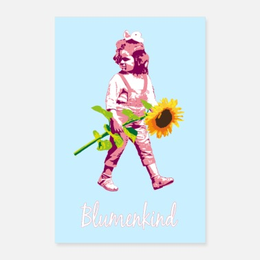 Stencil Flower child | Girl with sunflower | poster - Poster