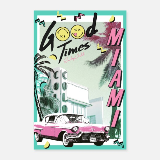 Émoticône Posters - SmileyWorld Miami Vibes Godd Times - Posters blanc