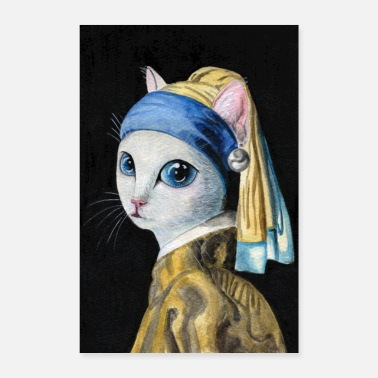 Cats And Dogs Collection Cat with a Pearl Earring (poster) - Poster