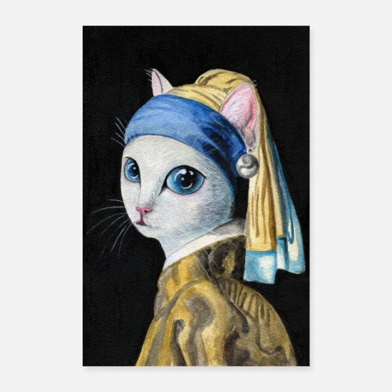 Cats And Dogs Collection Posters - Cat with a Pearl Earring (poster) - Posters wit