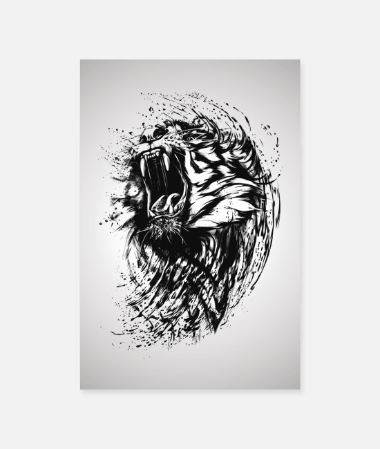 Wild Cat Posters - Tiger tattoo - Posters white