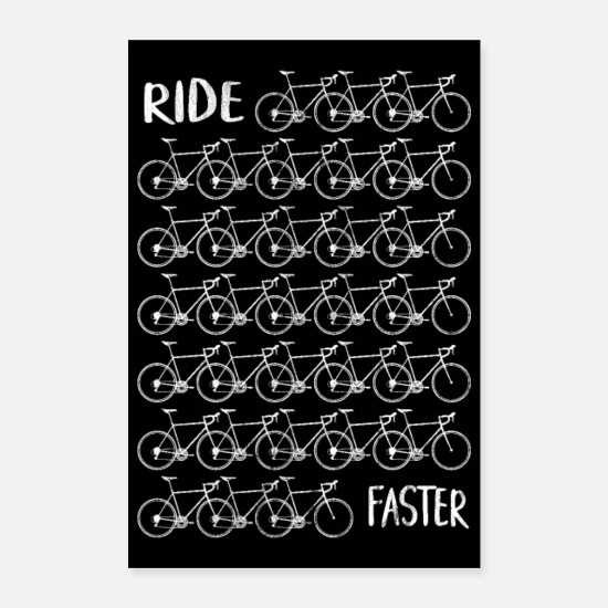 Poster Posters - Racefiets Road Fietser Fiets Triathlon Poster - Posters wit
