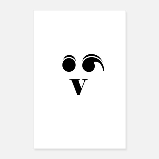 Punctuation Marks Posters - Face semicolon, V - Posters white