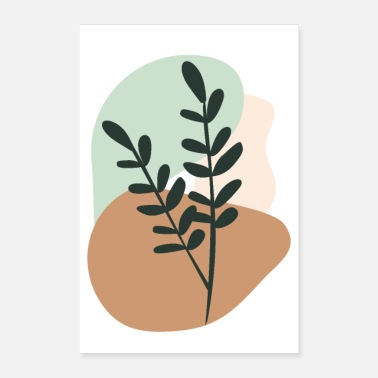 Shape Abstract Organic Shapes and Plant Minimalist Calm - Poster