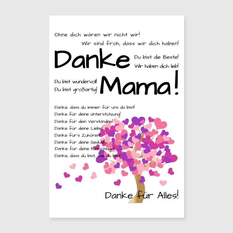 Danke Mama - Wir haben Dich lieb! Poster weiß von Happy