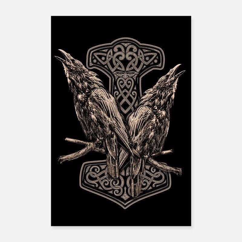 Hugin Posters - HUGIN AND MUNIN AND A THORHAMMER - Posters white