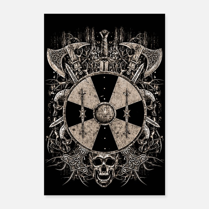 Odin Posters - VIKING SHIELD - Posters blanc