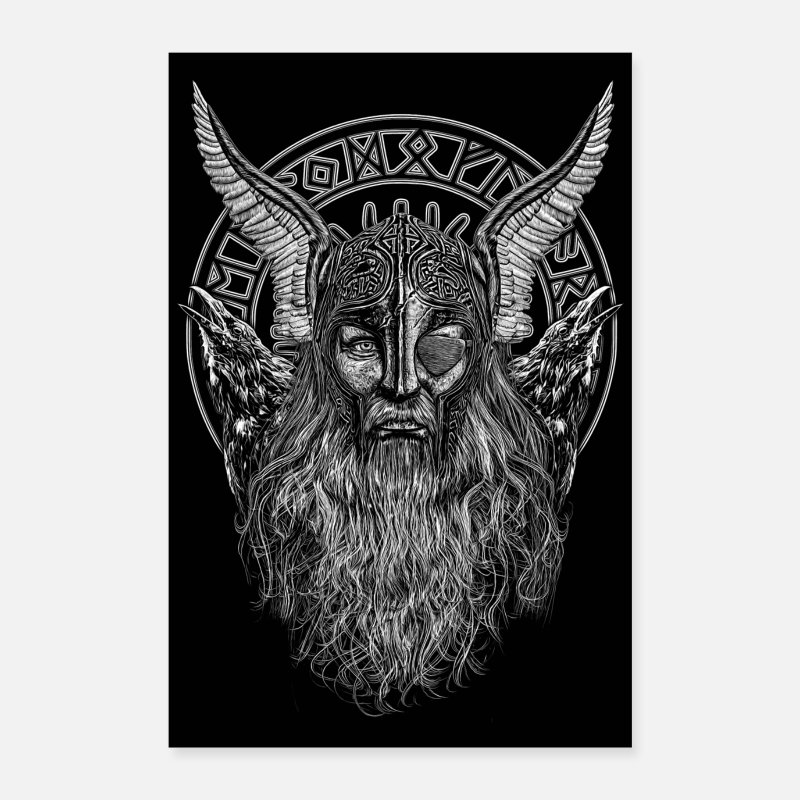 Viking Posters - ODIN PORTRAIT WITH HUGIN AND MUNIN - Posters white