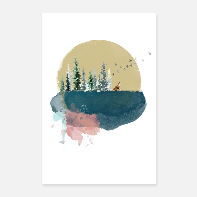 Bestseller Posters - Forest on the moon - Posters white