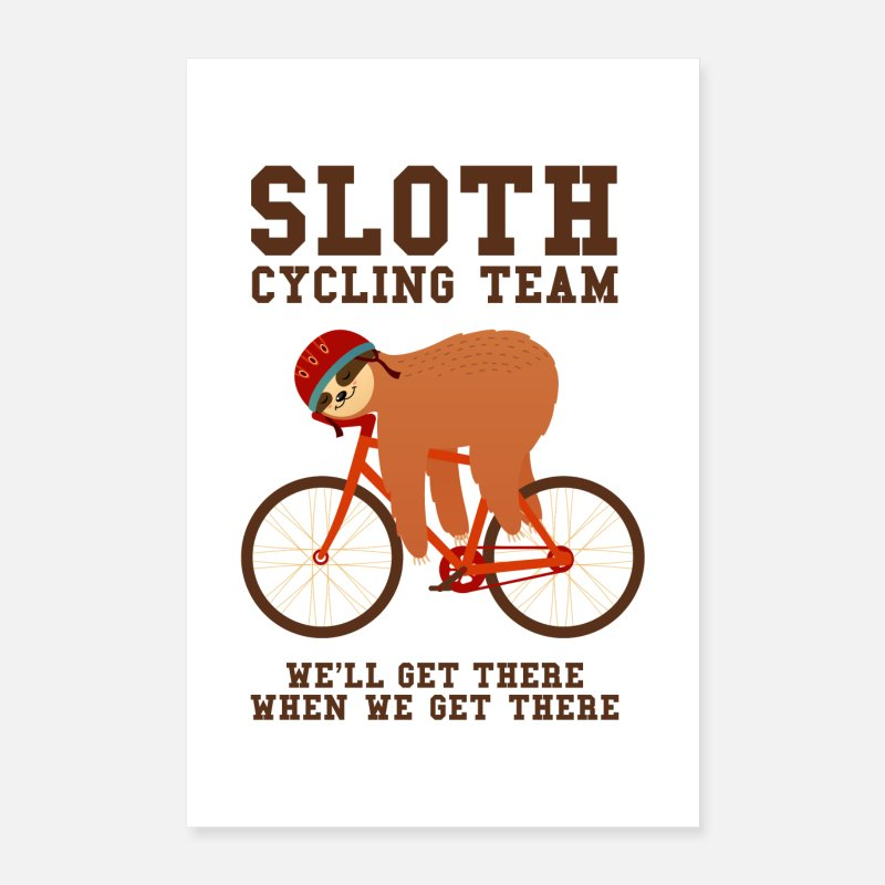 Cycling Posters - Sloth Cycling Team - Posters white