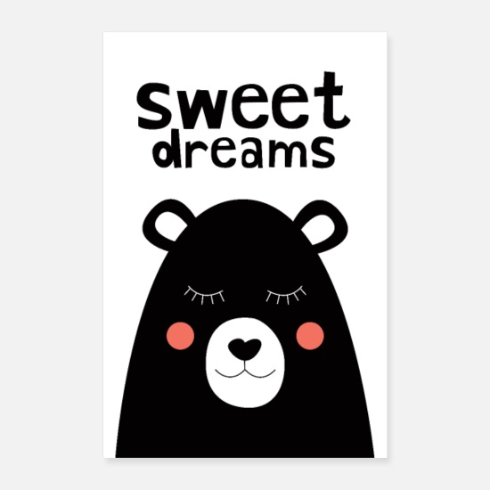 Naissance Posters - Sweet Dreams - Ours en peluche - Posters blanc