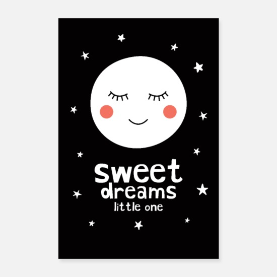 Jul Posters - Sweet Dreams Little One - Moon - Posters hvid