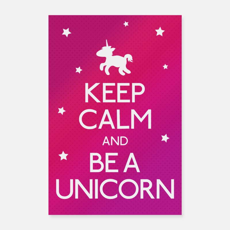 Horse Posters - Keep Calm and be a unicorn - Posters white