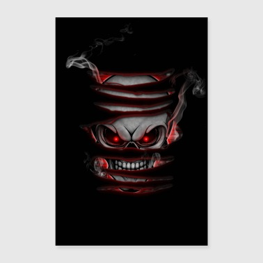 Skull with smoke poster red - Poster 24 x 35 (60x90 cm)