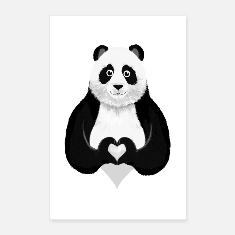 Love Posters - Panda Heart Hand - Posters white