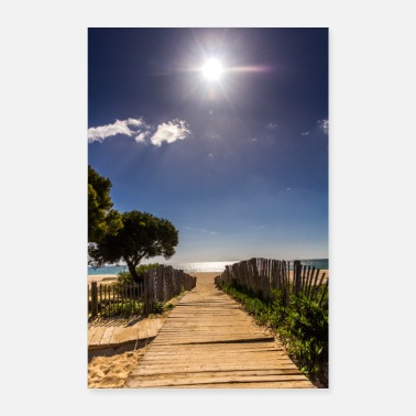 Portugal Beach Portugal footbridge sea sun vacation Algarve - Poster 24 x 35 (60x90 cm)