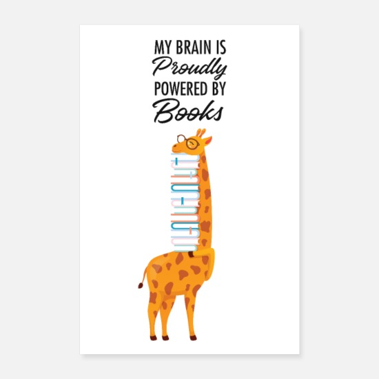 Geek Posters - My Brain Is Proudly Powered By Books - Posters white