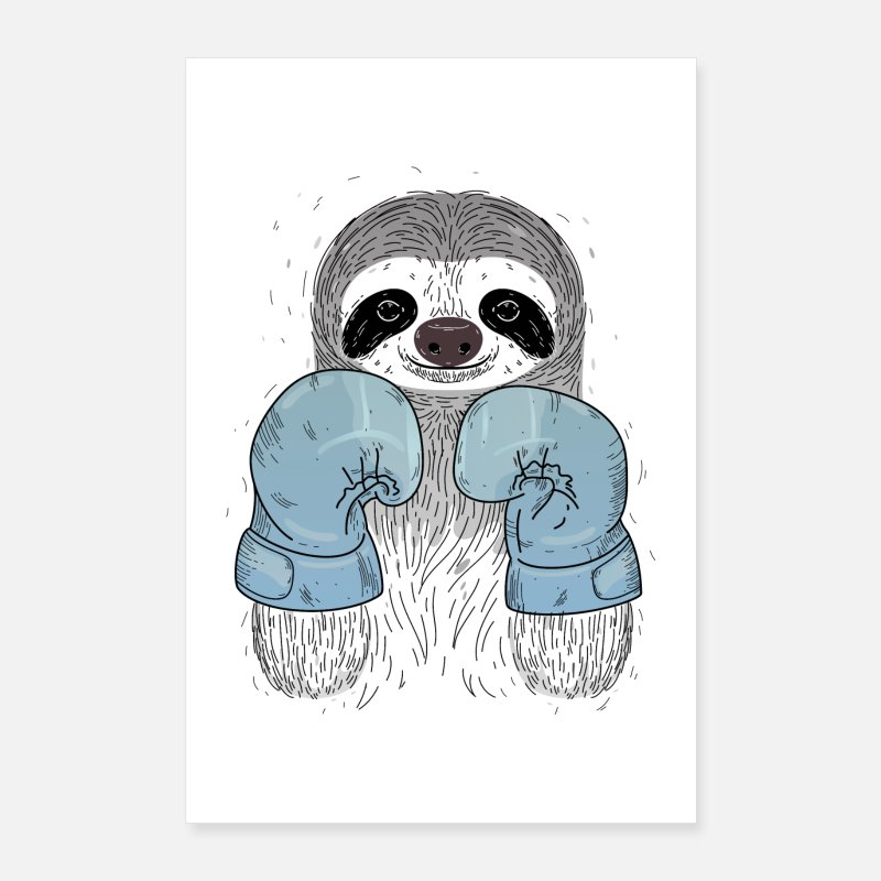 Sloth Posters - Sloth Boxing - Boxing Gloves - Posters white