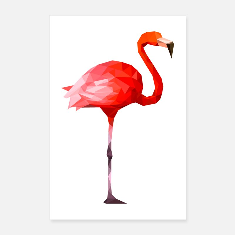 Birthday Posters - Flamingo polygon design - Posters white