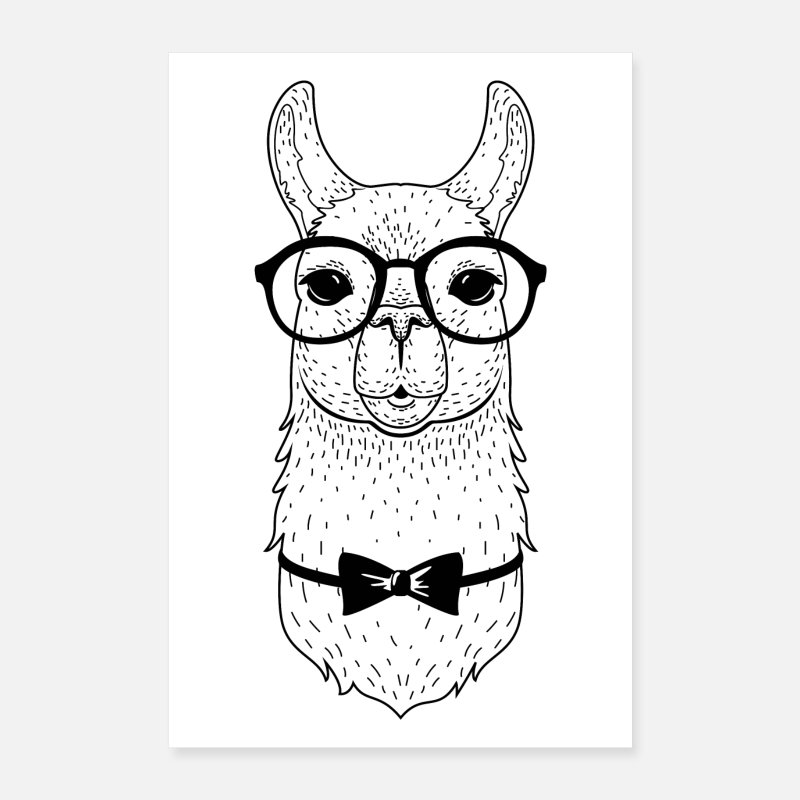 Lama Posters - Hipster Alpaca With Glasses And Bow Tie - Posters white