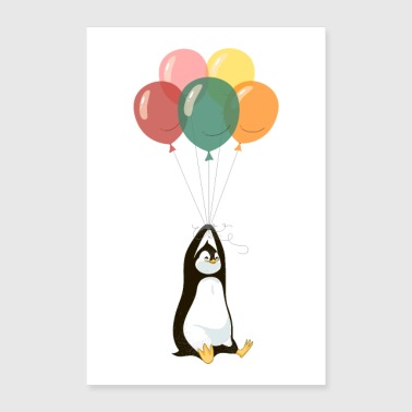 Penguin with balloons - Poster 24 x 35 (60x90 cm)