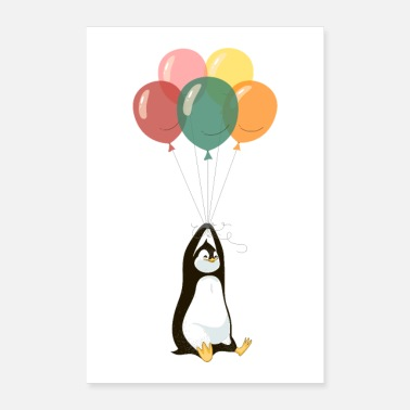 Party Penguin with balloons - Poster