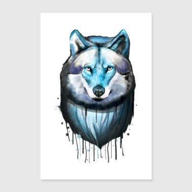 Wolf - watercolor drawing - Poster 24 x 35 (60x90 cm)