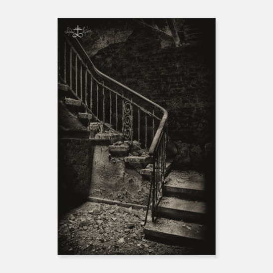 Schwarz Poster - Lost Place - Treppe - Poster Weiß