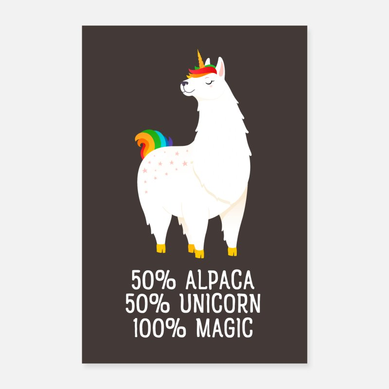 Birthday Posters - 50% Alpaca, 50% Unicorn, 100% Magic - Posters white