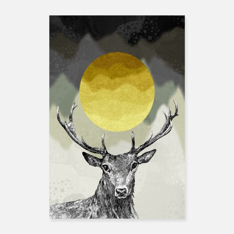 Bestseller Posters - Deer king of the forest - Posters white