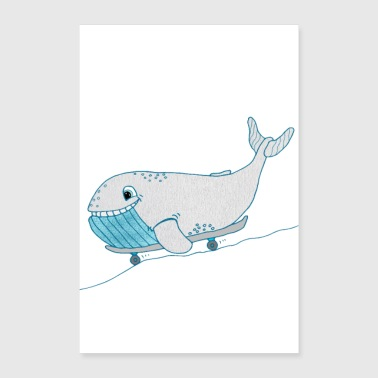 Blue whale on a skateboard nursery whale decoration - Poster 24 x 35 (60x90 cm)