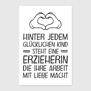 Educator - Happy children - Poster 24 x 35 (60x90 cm)