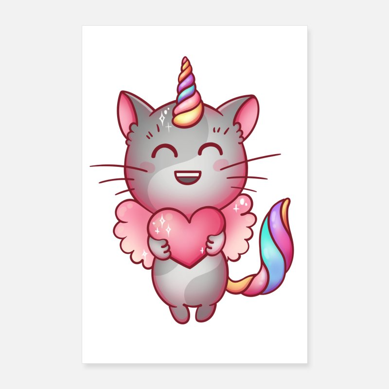 Cat Face Posters - Caticorn Unicorn Cat Poster - Posters white