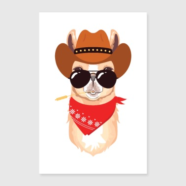 Alpaca with cowboy hat, scarf and sunglasses - Poster 24 x 35 (60x90 cm)