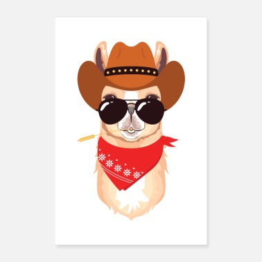 Cowboy Alpaca with cowboy hat, scarf and sunglasses - Poster 24 x 35 (60x90 cm)