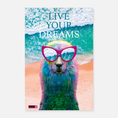 Glamour 03 Llama LIVE YOUR DREAMS Poster Margarita Pop Art - Poster 24 x 35 (60x90 cm)