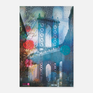 I Love New York 02 MANHATTAN PONTE sotto la pioggia Poster Margarita Art - Poster 60x90 cm