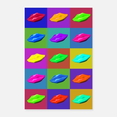 Group Pop Art style lips - Poster 24 x 35 (60x90 cm)