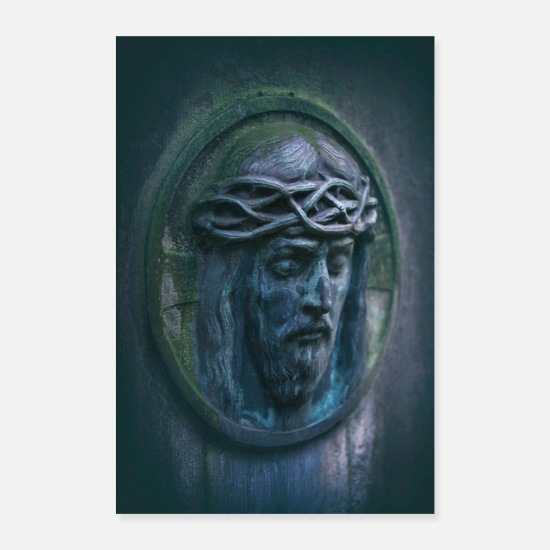 Think Posters - Jesus portrait tombstone moss oval weathered - Posters white