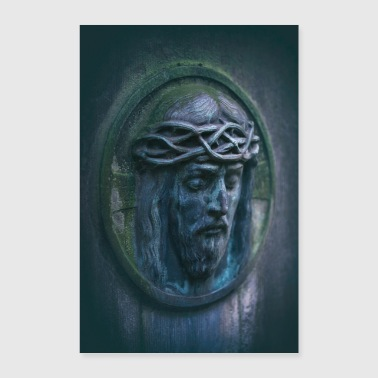 Jesus portrait tombstone moss oval weathered - Poster 24 x 35 (60x90 cm)