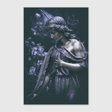 Grave Angel Bronze Figure Cemetery Angel Grief - Poster 24 x 35 (60x90 cm)