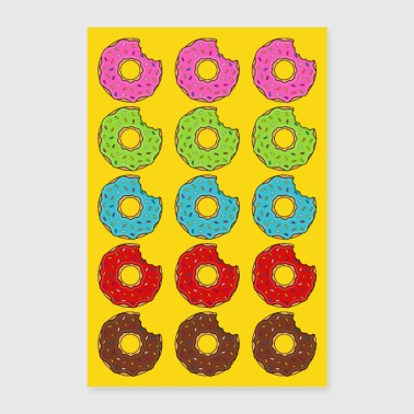 Affisch Donuts Donuts Bite Colorful Yellow Cookie Cookie - Poster 60x90 cm