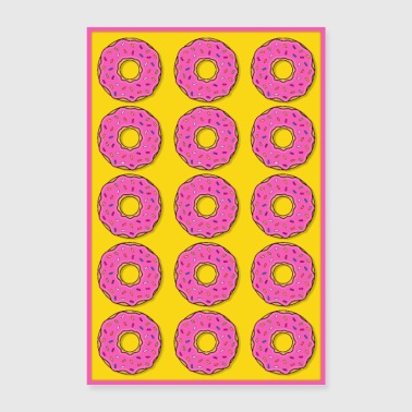 Poster donut donuts pink cookies candy food - Poster 24 x 35 (60x90 cm)