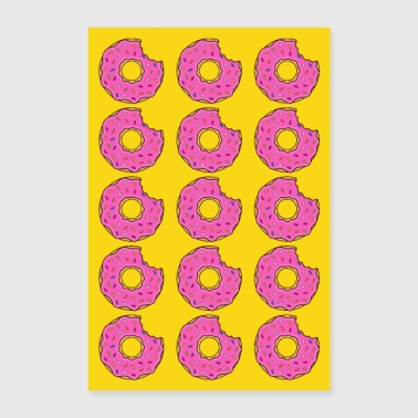 Poster donut donuts bite pink yellow bake yummy - Poster 24 x 35 (60x90 cm)